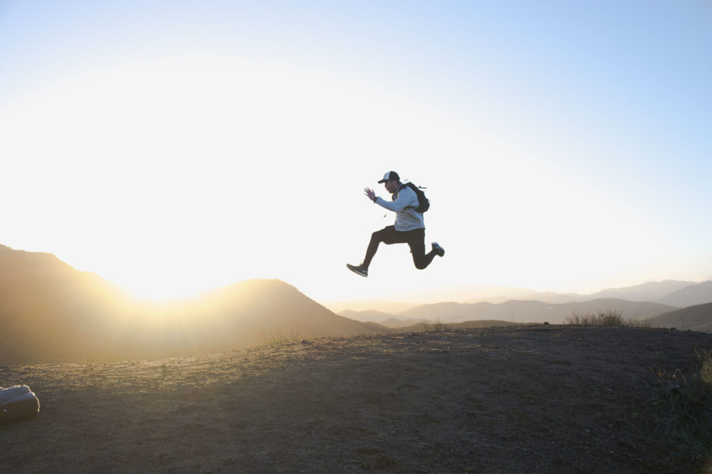 Image of a man jumping freely