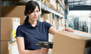wholesale distribution staff member packing