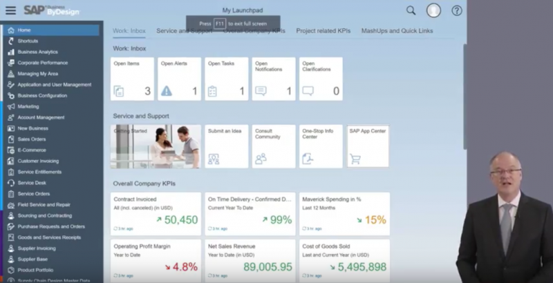 Screenshot of the New HTML5-Based Interface for SAP Business ByDesign