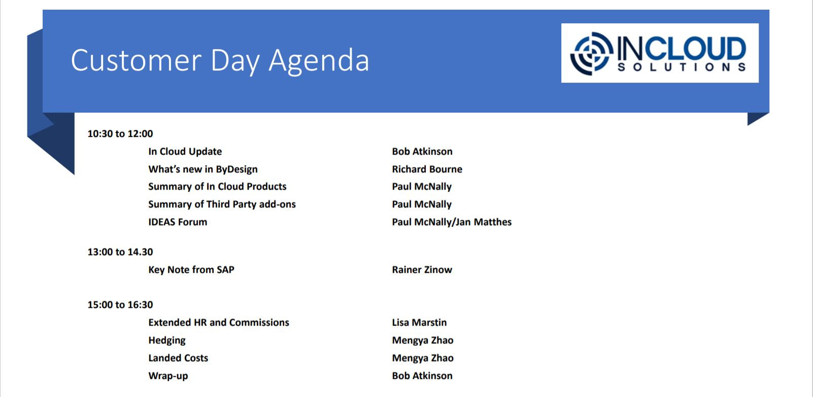 In Cloud Customer Day Agenda 2020