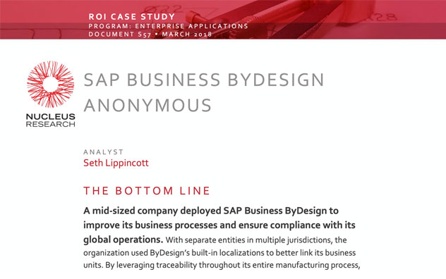SAP Business ByDesign ROI Case Study